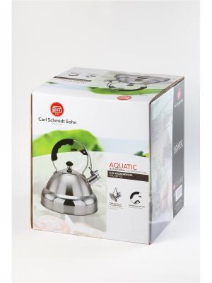 Чайник AQUATIC 5 л со свистком, из нержавеющей стали Carl Schmidt Sohn. Цвет: серебристый