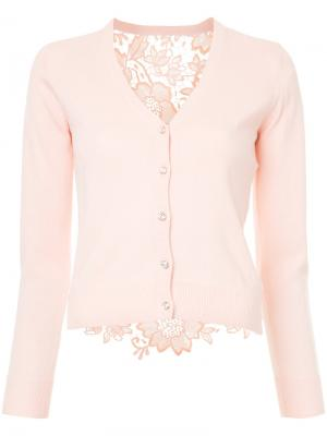 Кардиган с вышивкой на спине Loveless. Цвет: розовый и фиолетовый