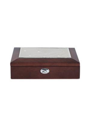 Шкатулка ювелирная MORETTO. Цвет: темно-коричневый, серебристый, терракотовый