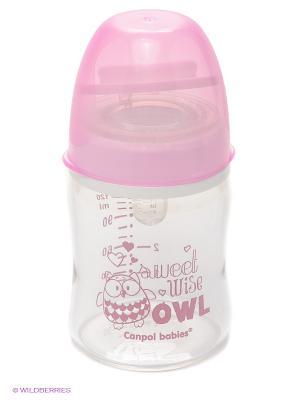 Бутылочка антиколиковая  Canpol babies Эко стекло, 120 мл. Цвет: розовый