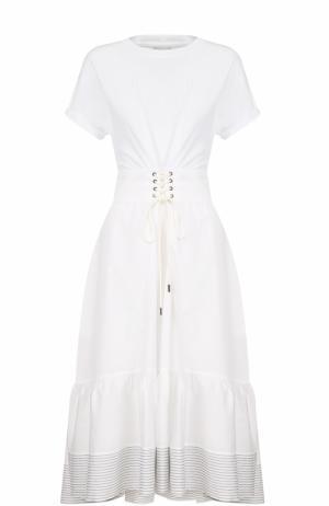 Хлопковое приталенное платье-миди 3.1 Phillip Lim. Цвет: белый