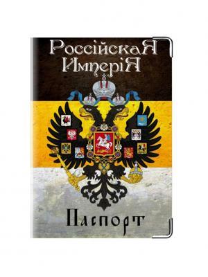 Обложка для паспорта Имперская Tina Bolotina. Цвет: черный, светло-серый, желтый