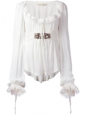 Блузка с оборками Amen. Цвет: белый