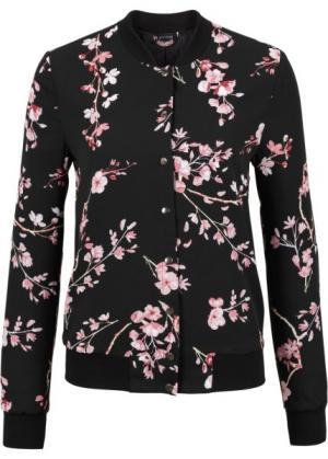 Бомбер (черный/розовый в цветочек) bonprix. Цвет: черный/розовый в цветочек