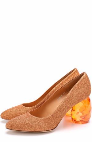 Туфли из металлизированного текстиля на декорированном каблуке Dries Van Noten. Цвет: золотой