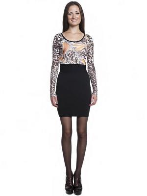 Платье FRENCH HINT. Цвет: черный, коричневый