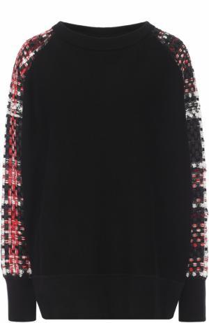 Хлопковый пуловер с контрастными буклированными рукавами Rag&Bone. Цвет: черный