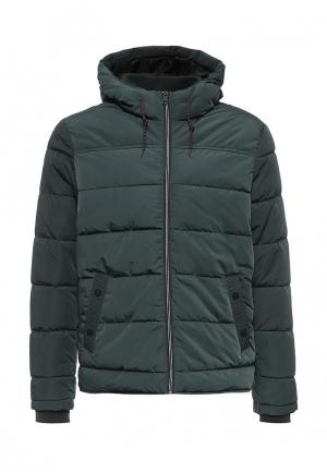 Куртка утепленная oodji. Цвет: зеленый