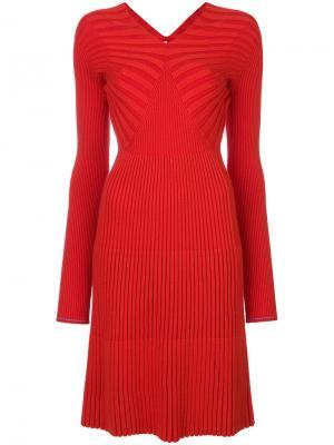 Платье с V-образным вырезом ребристой фактурой Victoria Beckham. Цвет: красный