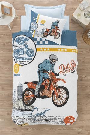 Single Quilt Cover Set Cotton box. Цвет: blue, white, black