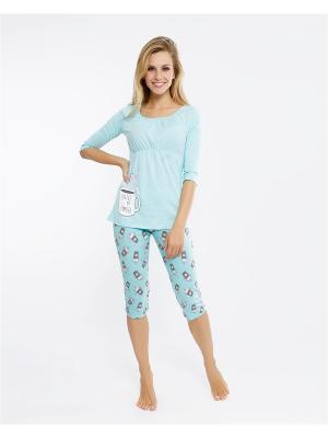 Комплект одежды: кофточка; бриджи Mark Formelle. Цвет: морская волна, бирюзовый, голубой