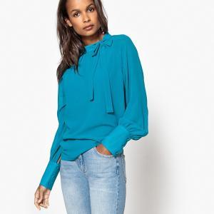 Блузка на завязках шее с длинными рукавами MADEMOISELLE R. Цвет: сине-зеленый