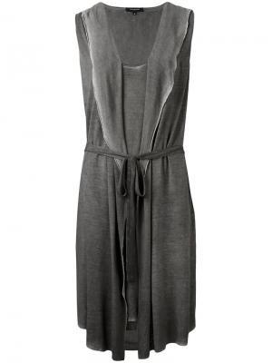 Платье с капюшоном и неравномерным подолом Unconditional. Цвет: серый