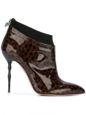 Ботинки с леопардовым узором Francesca Mambrini. Цвет: коричневый