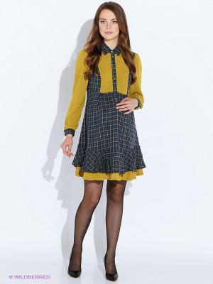 Платье MammySize. Цвет: горчичный, синий