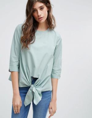 Pieces Блузка с бантиком. Цвет: зеленый