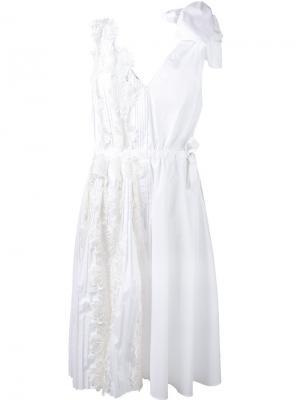 Платье с цветочным кружевом Rochas. Цвет: белый