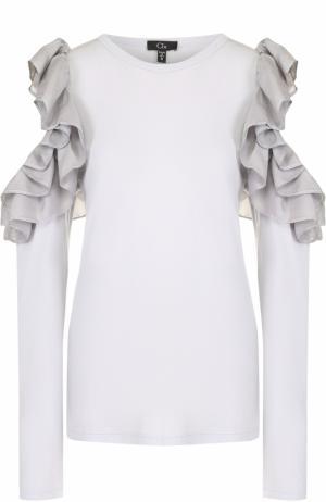 Блуза с разрезами на рукавах оборками Clu. Цвет: серо-голубой