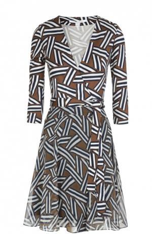 Платье с запахом Irina из эластичного шелка и шифона Diane Von Furstenberg. Цвет: разноцветный