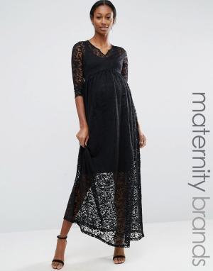 Mama.licious Кружевное платье макси для беременных Mamalicious Maternity. Цвет: черный