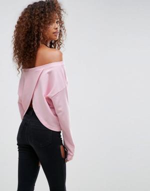 ASOS Свитшот с открытыми плечами и запахом на спине. Цвет: розовый