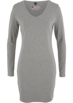 Трикотажное платье-стретч с длинным рукавом (серый меланж) bonprix. Цвет: серый меланж