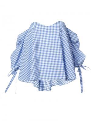 Клетчатая блузка с открытыми плечами Caroline Constas. Цвет: синий