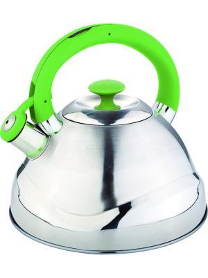 Чайник со свистком 3.0л. С силиконовой ручкой RAINSTAHL. Цвет: зеленый