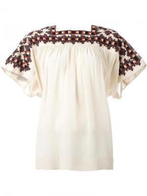 Блузка свободного кроя с квадратным вырезом Masscob. Цвет: белый