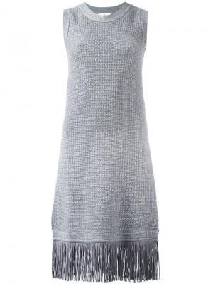 Платье с бахромой на подоле Allude. Цвет: серый
