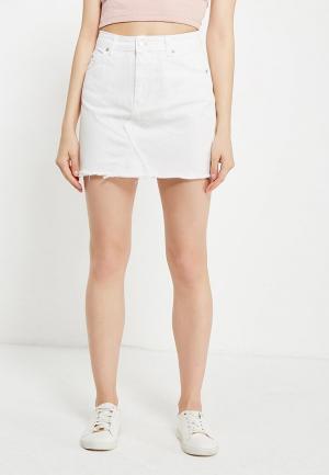 Юбка джинсовая Topshop. Цвет: белый