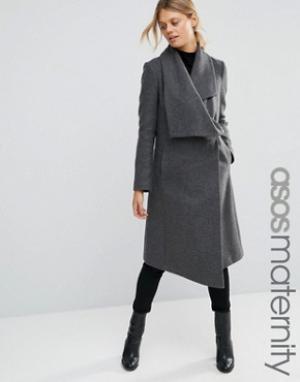 ASOS Maternity Пальто-трапеция для беременных с каскадной отделкой. Цвет: серый