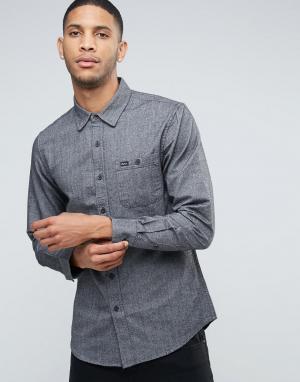 RVCA Хлопковая рубашка с карманом. Цвет: черный