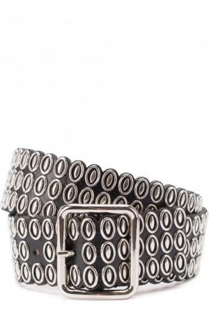 Кожаный ремень с металлической отделкой Alaia. Цвет: черный