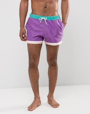 ASOS Короткие шорты для плавания. Цвет: фиолетовый