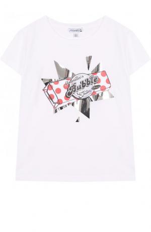 Хлопковая футболка с принтом Simonetta. Цвет: белый