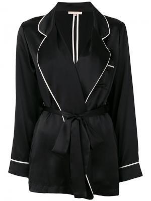 Пижамный пиджак с контрастной окантовкой Gold Hawk. Цвет: чёрный