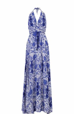 Шелковое платье-макси с открытой спиной и принтом Lazul. Цвет: синий