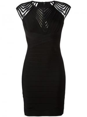 Платье с отделкой зигзаг Hervé Léger. Цвет: чёрный