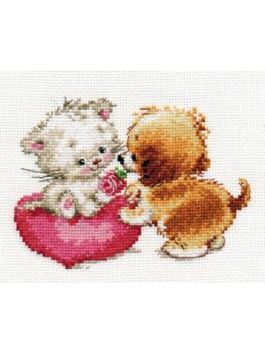 Набор для вышивания Ты мне нравишься  15х11 см Алиса. Цвет: белый, коричневый, красный, светло-серый, серый, темно-коричневый
