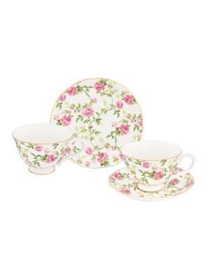 Чайная пара Плетистая роза Elan Gallery. Цвет: белый,зеленый,розовый