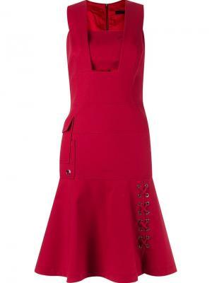 Приталенное платье без рукавов Giuliana Romanno. Цвет: красный