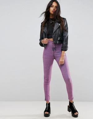 ASOS Розовые джинсовые джеггинсы с завышенной талией RIVINGTON. Цвет: розовый
