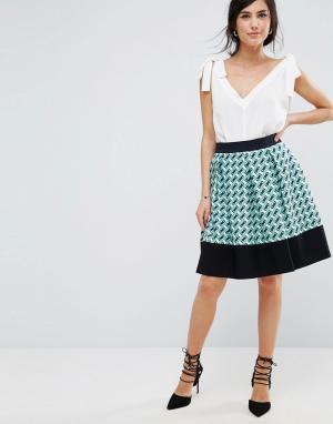 Closet London Расклешенная юбка с принтом. Цвет: мульти
