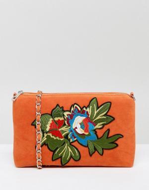 Glamorous Бархатная сумка через плечо с вышивкой. Цвет: оранжевый