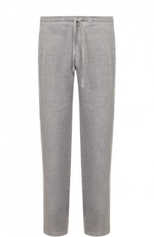 Льняные брюки свободного кроя 120% Lino. Цвет: серый