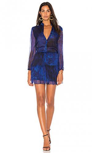 Мини платье с принтом karina Grimaldi. Цвет: королевский синий