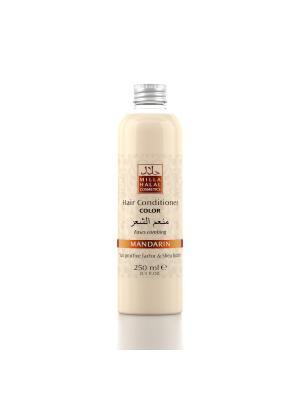 Кондиционер для окрашенных волос с маслом ши (карите) и защитным уф-фактором MANDARIN MILLA HALAL COSMETICS. Цвет: оранжевый, белый