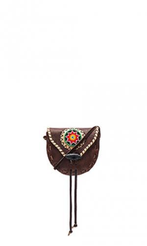 Сумка через плечо в племенных принтах с отделкой бисером STELA 9. Цвет: коричневый