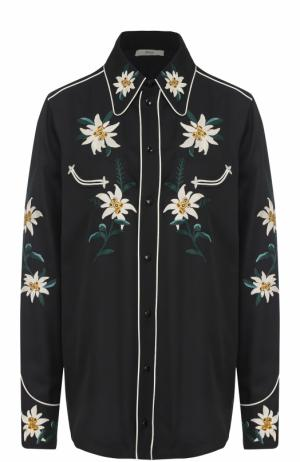 Блуза свободного кроя с цветочной вышивкой Bally. Цвет: черный